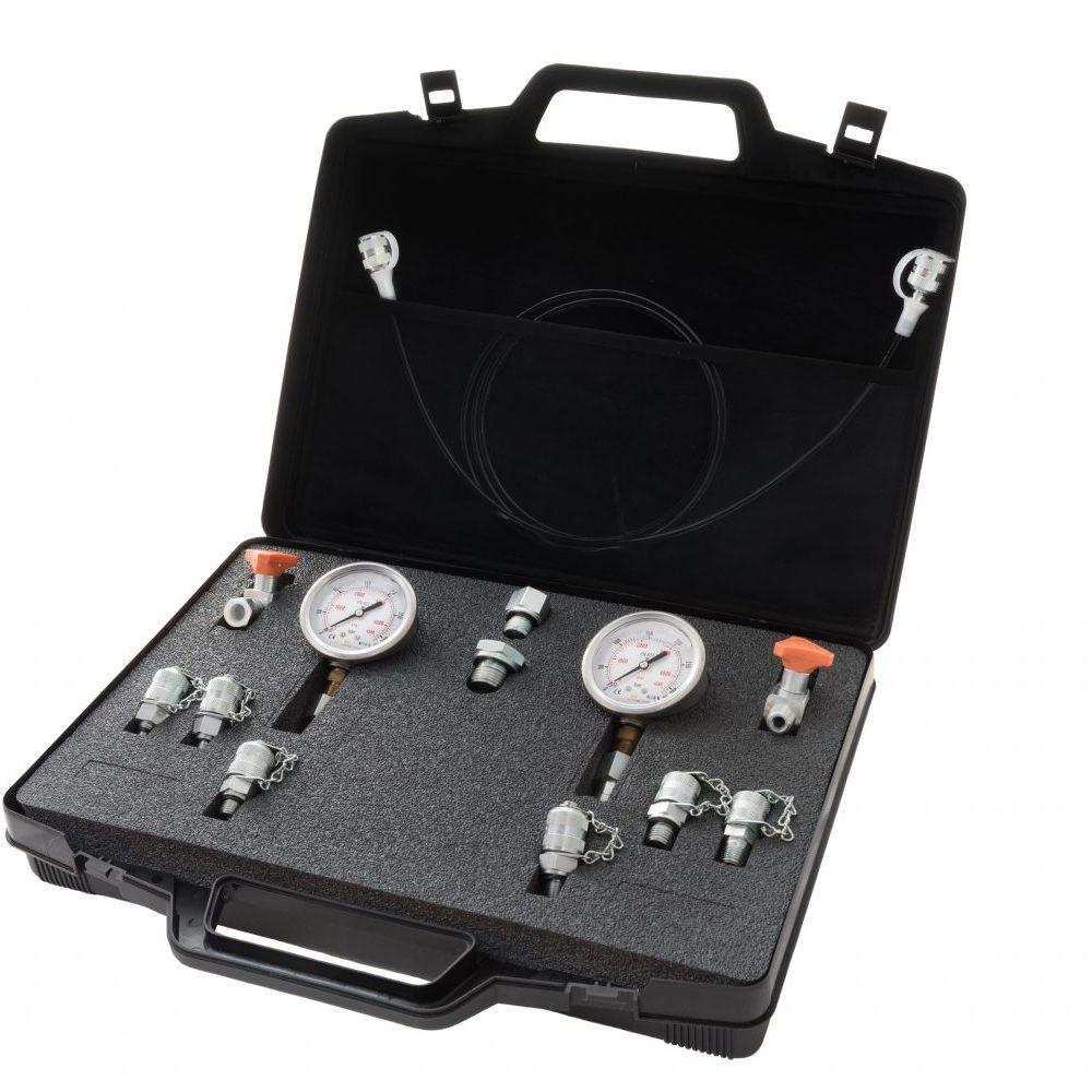 Kit portatile prova pressione componibile che include 2 manometri diam. 63 mm e/o 100 mm, adattatori e miniprese - Dimensioni 385x255x90 mm